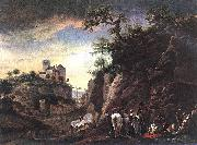 Philips Wouwerman Rocky Landscape with resting Travellers oil painting reproduction