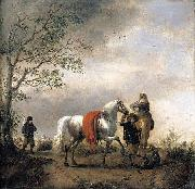 Philips Wouwerman Cavalier Holding a Dappled Grey Horse oil painting reproduction