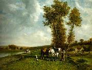 Pierre-Jacques Cazes Ecole de Barbizon oil on canvas