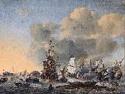 Reinier Nooms Caulking ships at the Bothuisje on the Y at Amsterdam oil