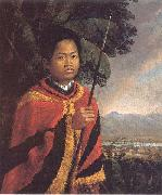 Robert Dampier Portrait of King Kamehameha III of Hawaii oil