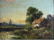 Robert Fenson View with a Cottage by a Stream oil