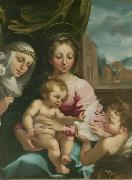 Rutilio Manetti Virgin and Child with the Young Saint John the Baptist and Saint Catherine of Siena oil