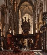 Victor-Jules Genisson Interior of the 'Sint-Salvatorkathedraal' in Bruges oil painting reproduction