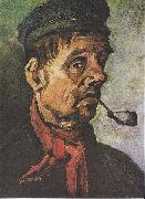 Vincent Van Gogh Head of a peasant with a clay-pipe painting