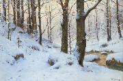 Walter Moras Bachlauf im Winterwald. oil painting reproduction