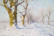 Walter Moras A sunny winters day oil painting