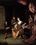 Willem van Mieris The Lute Player oil on canvas