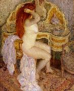 frederick carl frieseke Nude Seated at Her Dressing Table oil on canvas