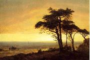 Albert Bierstadt The Sunset at Monterey Bay the California Coast oil painting reproduction