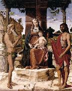 Bartolomeo Montagna Madonna and Child under a Pergola with St John the Baptist and St Onofrius oil painting