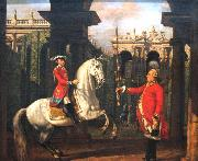 Bernardo Bellotto Colonel Piotr Konigsfels teaching Prince Jozef Poniatowski how to ride oil painting reproduction