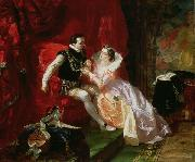 Edward Matthew Ward Leicester and Amy Robsart at Cumnor Hall oil painting reproduction