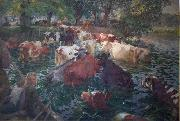 Emile Claus Cows crossing the Lys River oil painting reproduction