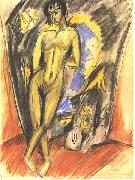 Ernst Ludwig Kirchner Standing female nude in frot of a tent oil painting reproduction