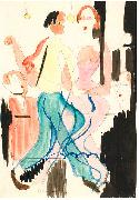 Ernst Ludwig Kirchner Dancing couple - Watercolour and ink over pencil oil painting reproduction