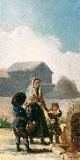 Francisco de Goya A woman and two children by a fountain oil painting reproduction