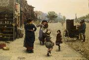 Frederick james shields An impromptu dance a scene on the Chelsea Embankment oil painting reproduction