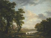 George Barret An extensive wooded river landscape with shepherds recicling in the foreground and ruins beyond oil painting