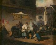 George Chinnery Chinese Street Scene at Macao oil on canvas