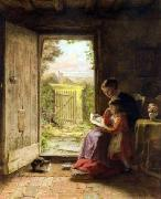 George Hardy The Reading Lesson oil on canvas