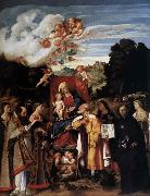 Giovanni Cariani Virgin Enthroned with Angels and Saints oil on canvas