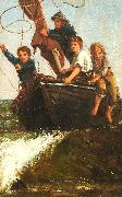 James Charles Bringing the boat ashore oil on canvas