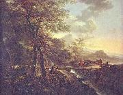 Jan Both Italian landscape with draughtsman. oil painting reproduction