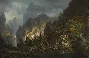 Johann Hermann Carmiencke Storm in the mountains oil painting reproduction