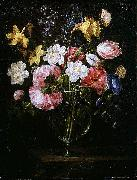Juan de Arellano Clematis, a Tulip and other flowers in a Glass Vase on a wooden Ledge with a Butterfly oil painting reproduction