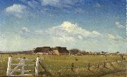 Laurits Andersen Ring Fenced in Pastures by a Farm with a Storks Nest on the Roof oil