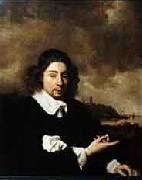 Pieter Cornelis Dommersen Self portrait against landscape background by Jan van Goyen oil on canvas