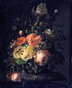 Rachel Ruysch Still life with flowers on a marble table top oil painting reproduction