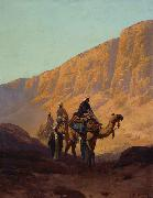 Rudolf Wiegmann Caravan passing through a wadi oil