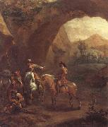 Adam Colonia Landscape with troopers and soldiers beneath a rocky arch oil on canvas
