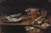 Alexander Adriaenssen Still Life with Fish,Oysters,and a Cat oil painting reproduction