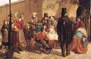 Charles Hunt A Coffee Stall Westminster oil on canvas