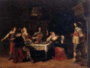 Christoph jacobsz.van der Lamen Cavaliers and courtesans in an interior oil on canvas