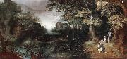 Claes Dircksz.van er heck A wooded landscape with huntsmen in the foreground,a town beyond oil on canvas