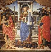 Cosimo Rosselli St.Barbara between SS.John the Baptist and Matthew oil on canvas
