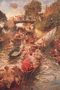 Edward john Gregory,RA.RI Boulter's Lock-Sunday Afternoon oil