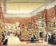 George Scharf Interior of the Gallery of the New Society of Painters in Water Colurs,Old Bond Street oil painting reproduction