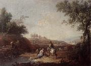 Giuseppe Zais An italianate landscape with fishermen and travellers resting beside a pool oil