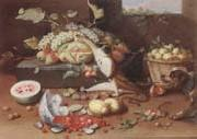 Jan Van Kessel the Younger Still life of a watermelon,pears,grapes and melons,plums,apricots and pears in a basket,with a dog surprising a monkey and fraises-de-bois spilling ou oil on canvas