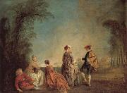 Jean-Antoine Watteau An Embarrassing Proposal oil painting reproduction
