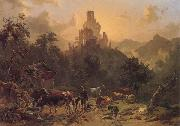 Johann Nepomuk Rauch Landscape with Ruins oil