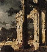 Leonardo Coccorante An architectural capriccio with figures amongst ruins,under a stormy night sky oil on canvas
