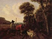 Ludolf de Jongh Hunters and Dogs painting