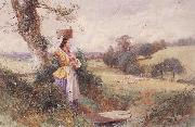 Myles Birket Foster,RWS The Milkmaid oil