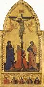 Nardo di Cione Crucifixion Scene with Mourners SS.Jerome,James the Lesser,Paul,James the Greater,and Peter Martyr oil on canvas